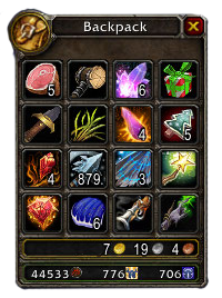 A backpack filled with items