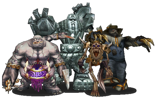 Golems (from left to right): Abomination, stone golem, bone golem, and harvest golem.