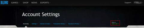 Balance at top of Blizzard Account Settings.jpg