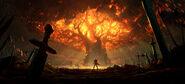 Battle for Azeroth - Teldrassil burning art