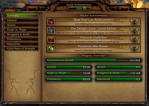 Main menu of the guild achievements interface.