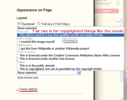 The license selection in the image addition tool, with {{fairuse}} highlighted and explained; a tooltip is displayed with the template name as the mouse is hovering over the license