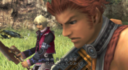 Shulk and Reyn attack the local wildlife