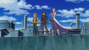 Yusei, Jack and Crow stand at the Daedalus Bridge.png