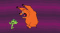 Beast Boy being chased by a angry bear