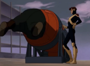 Cyclops messes with Blob in the barrel