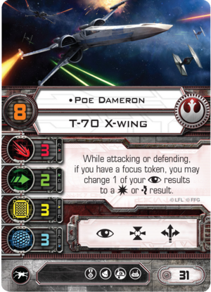 """Poe Dameron has a primary weapon value of """"3""""."""