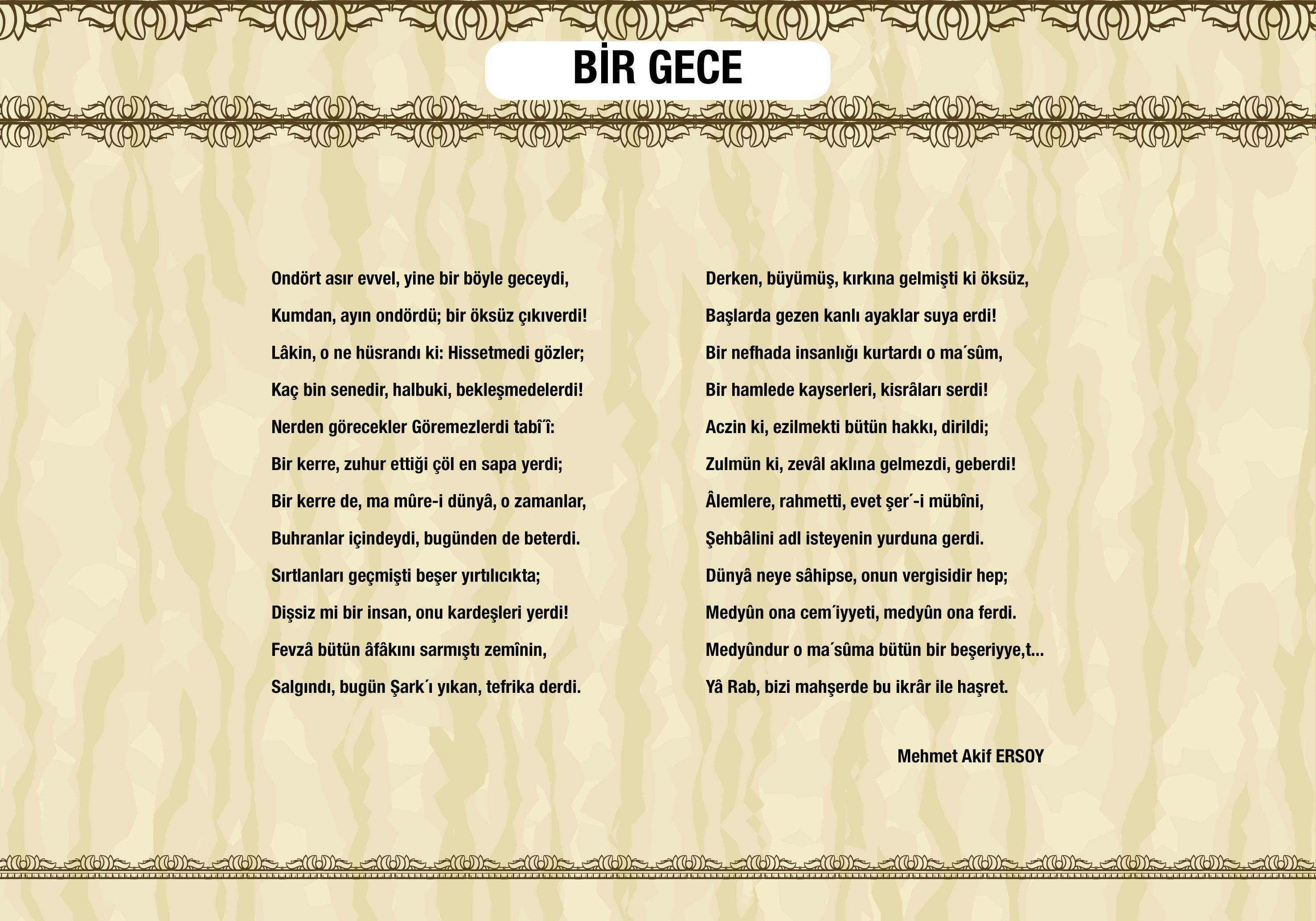 Bir Gece - Mehmet Akif Ersoy - Safahat