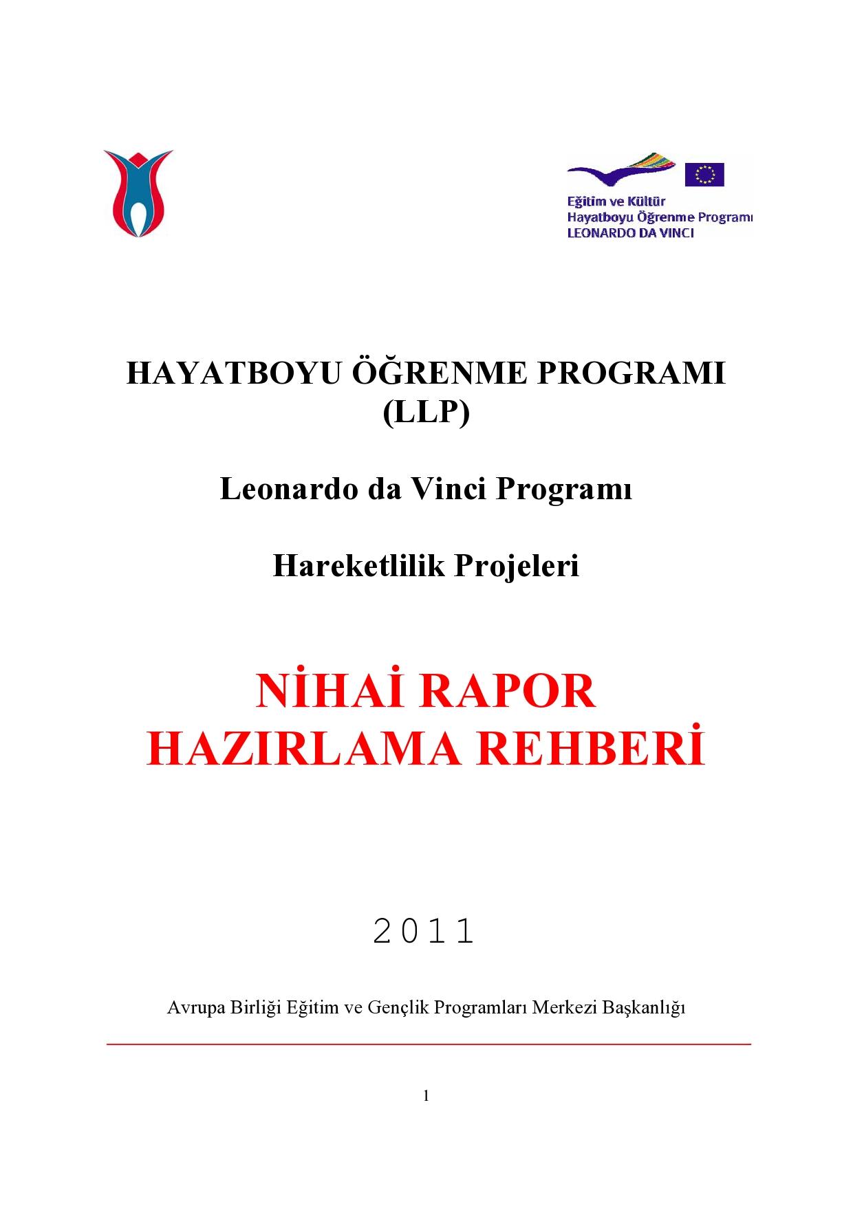 Hayat Boyu Öğrenme Proğramı (LLP)Leonardo da Vinci Proğramı Hareketlilik Projeleri