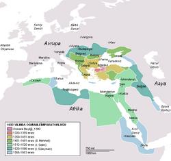 Osmanlı İmparatorluğu konumu.