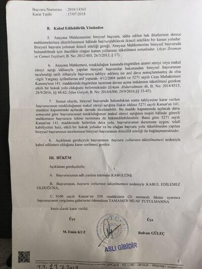 Esk Uzun tutukluluk hali davasında Anayasa mahkemesi red kararı.jpg