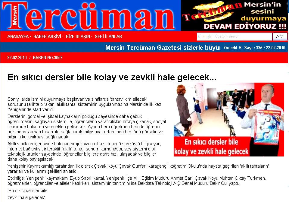 """Yenişehir Kaymakamlığı """"Akıllı Tahta"""" sisteminini hayata geçirdi."""