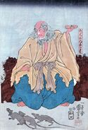 Kuniyoshi Priest Raigo with rats