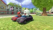 Red Yoshi and King Boo in Mario Kart 8 Deluxe