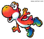 Red Yoshi waving balance
