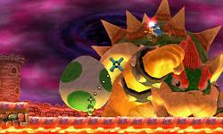 Giant Bowser defending against Yoshi.