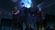 Red Arrow, Nightwing, Guardian, and Arsenal pose
