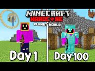 I Survived 100 Days On A Planet In Hardcore Minecraft...