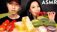 MOST_POPULAR_FOOD_FOR_ASMR_with_STEPHANIE_SOO_(Honeycomb,_Aloe_Vera,_Tanghulu,_Macarons)