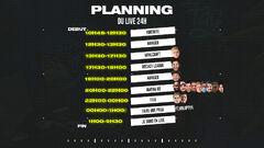 Planning du Live 24H de 2020