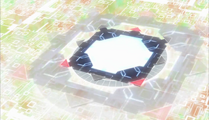 The Link Summoning portal in the anime. Link Arrows can be seen around it.