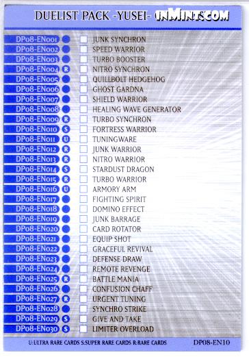 Duelist Pack -Yusei- Checklist