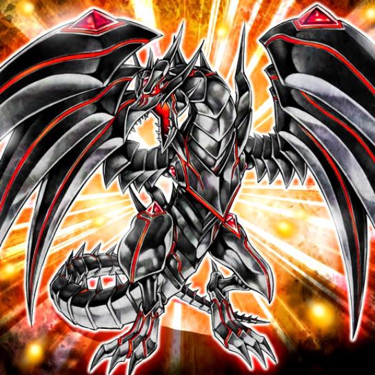 Drago Metallico Oscuro Occhi Rossi