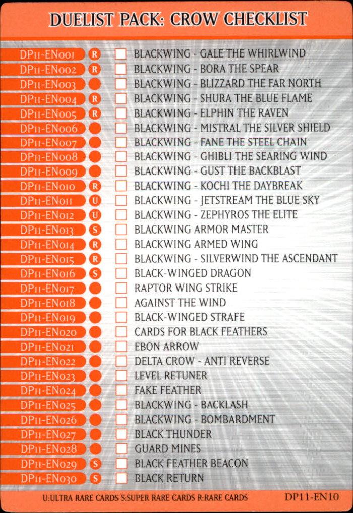 Duelist Pack: Crow checklist