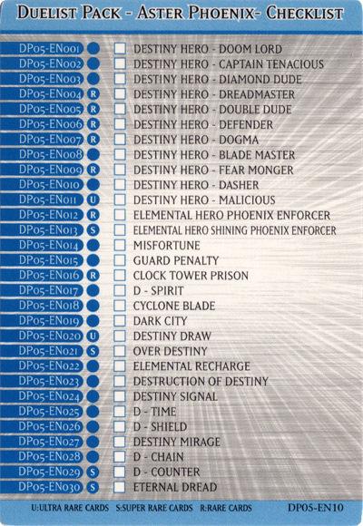 Duelist Pack - Aster Phoenix - Checklist