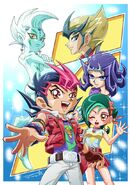 Yuma, Astral, Shark, Kite y Tori chibis