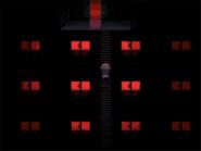 Overgrown condominium red windows