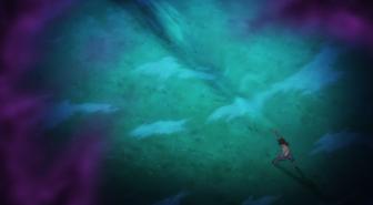 Anime Episode 4 Kogarashi punches fog youkai