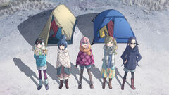 Laid-Back Camp 5 main chars standing in front of tents