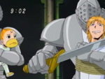 Kanchomé and Parco Folgore as Steng's hostages after falling into the pit in the previous episode.