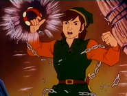 Link con el brazalete de fuerza (serie animada)