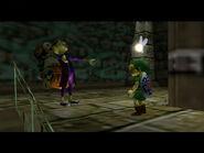 Vendedor de La Máscara Feliz elogiando a Link