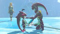 Mipha y Sidon siendo visitados por Zelda BotW.jpg