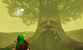 Link frente al Gran arbol deku