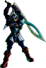 Artwork of Link while wearing the Fierce Deity's Mask