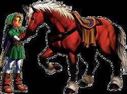 Arte de Link e Epona em Ocarina of Time
