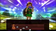 Link tocando la Ocarina del Tiempo en MM 3D