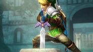 Link retirando la Espada Maestra HW