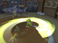 Link en train d'exécuter une attaque tourbillon dans The Wind Waker