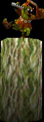 Un Skull Kid en train de jouer de la flûte sur un tronc