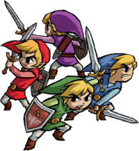 Artwork of Link and his three clones wielding the Four Sword