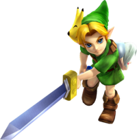 Young Link wielding the Kokiri Sword from Hyrule Warriors