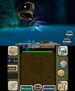 Link Zora attaquant un serpent dans Majora's Mask 3D