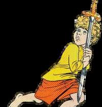 Rus, clutching Link's sword.