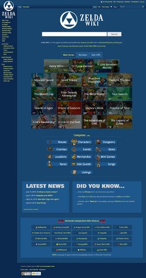 Screenshot of the Zelda Wiki Main Page