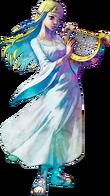 Zelda holding the Goddess's Harp in artwork of Skyward Sword